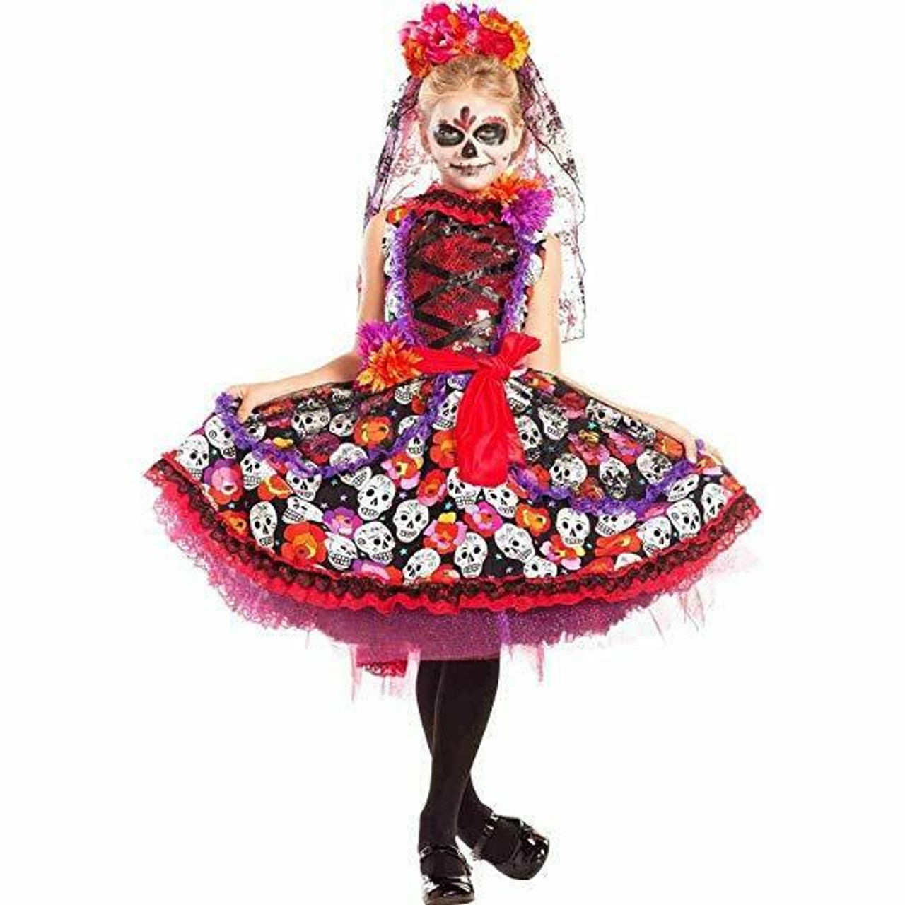 9eef0ceb70c Party King Lady of the Dead Sugar Skull Dress Childrens Halloween Costume  PK770C