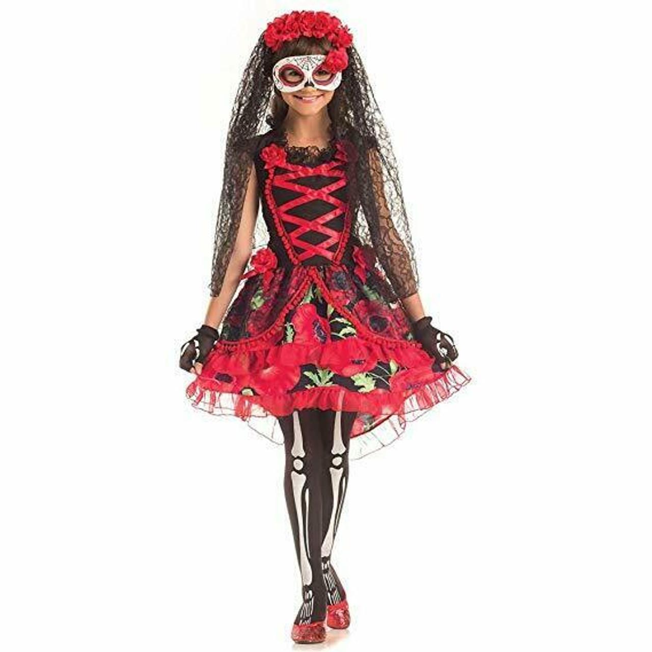 48884925786 Party King Day of the Dead Senorita Skull Childrens Halloween Costume PK297C