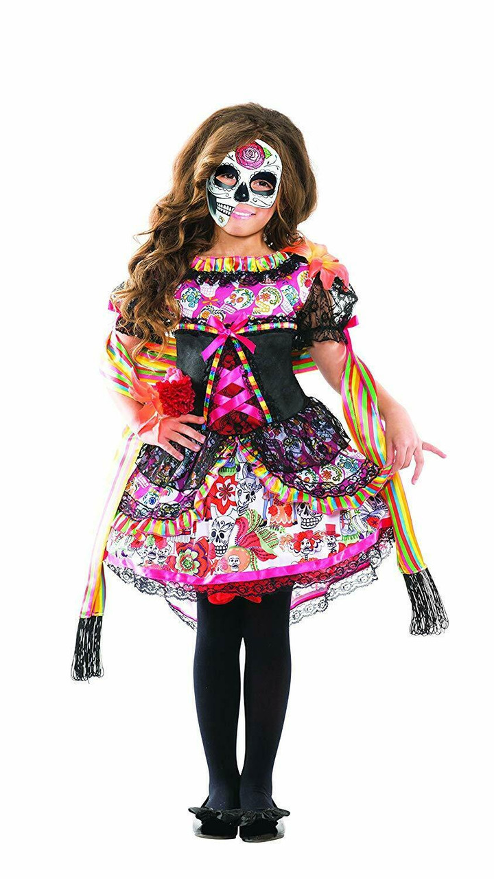 3a90f1259e6 Party King Day of the Dead Sugar Skull Dress Childrens Halloween Costume  PK156C