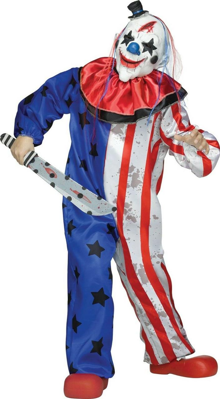 Scary Clown Halloween Costume.Fun World Evil Clown American Flag Usa Scary Childrens Halloween Costume 132012