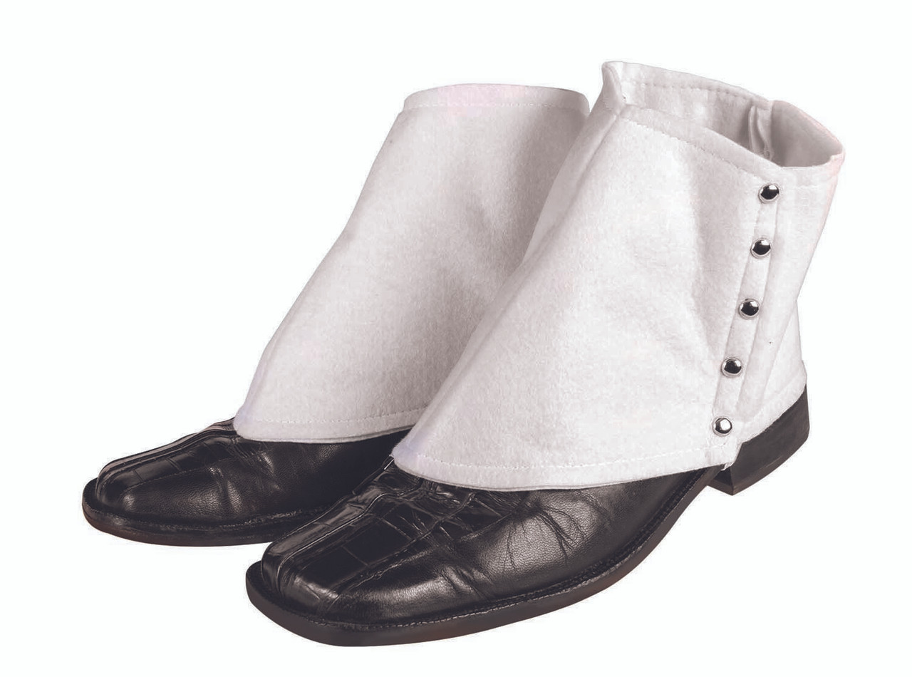 ONE SIZE ADULTS WHITE SPATS GANGSTER SPATS 1920S GANGSTER FANCY DRESS COSTUME WHITE GANGSTER SHOE COVERS FANCY DRESS ACCESSORY