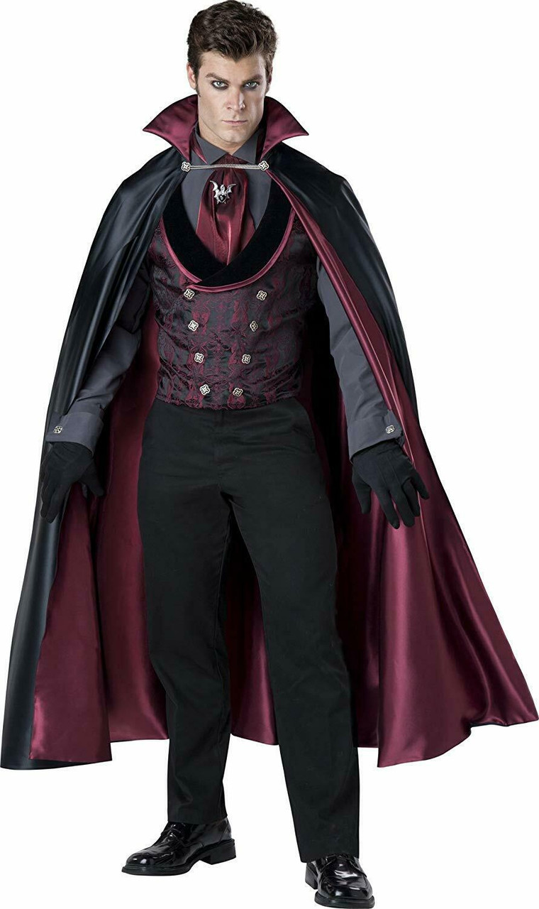 Satin Vampire Cape Black Red Deluxe 56 Inch Adult Mens Costume One Size Dress Up