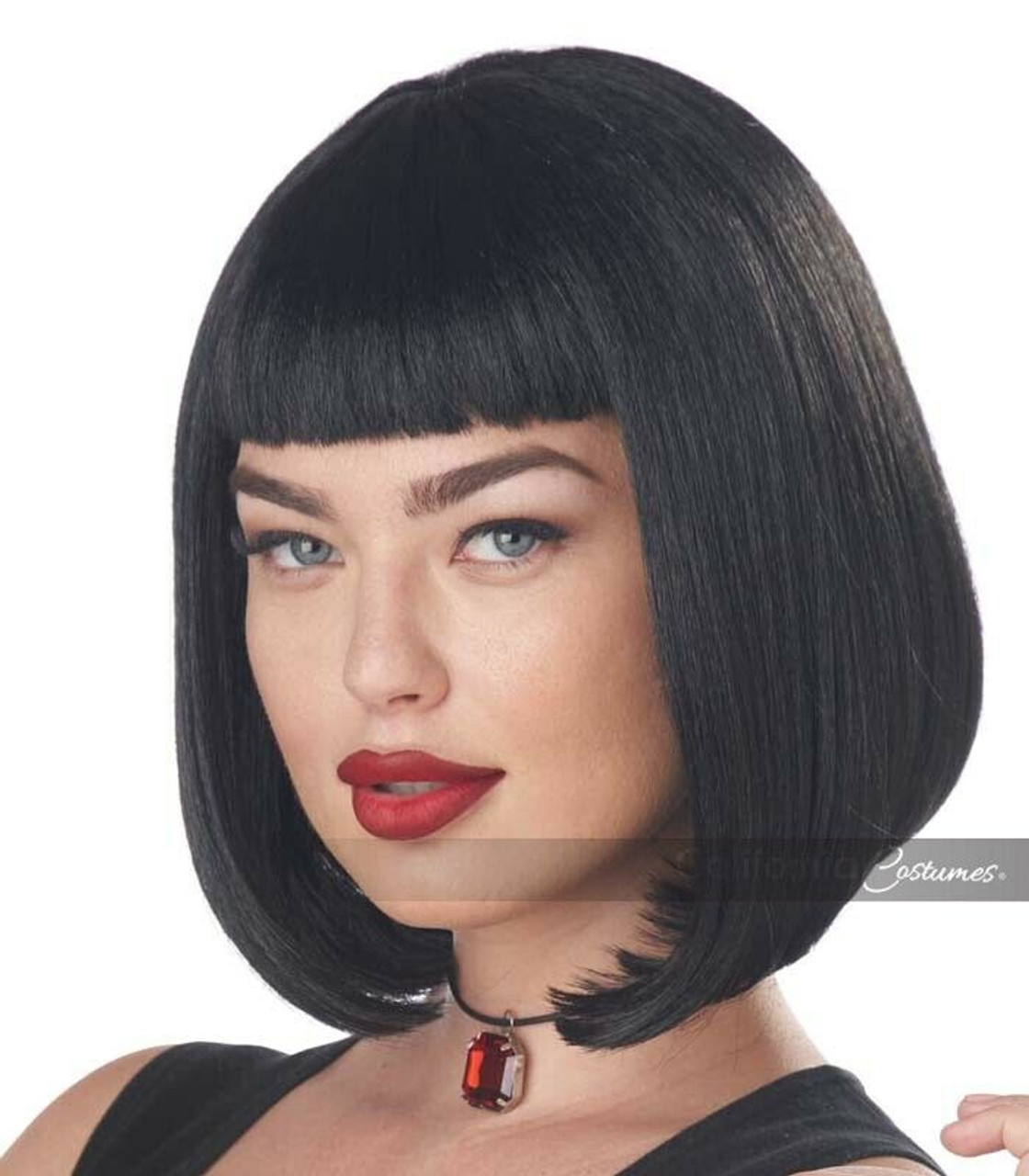 California Costumes 90s Pulp Fiction Mia Wallace Bob Wig Halloween Costume 70517 Fearless Apparel
