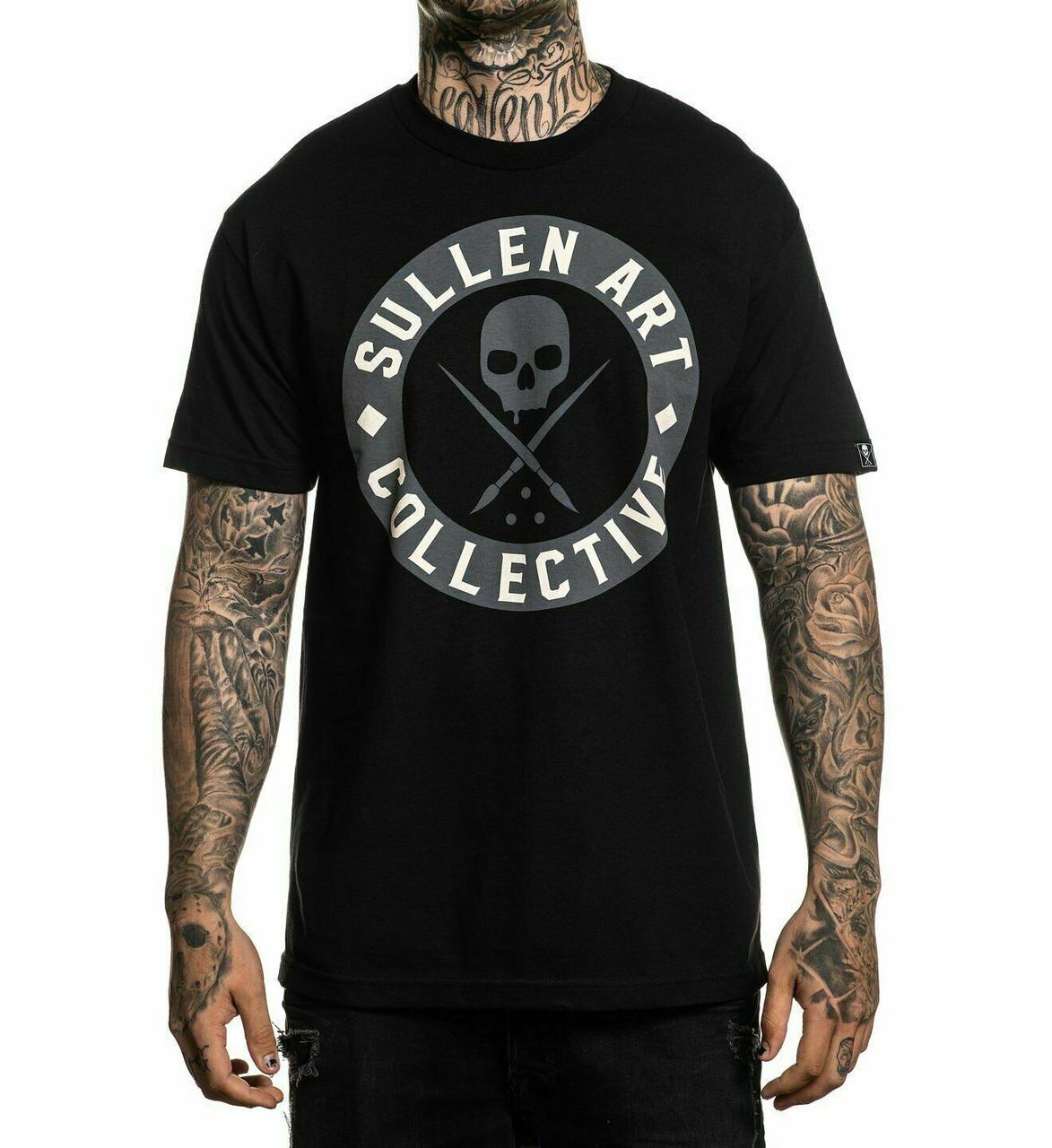 Sullen Men/'s BOH Solid Short Sleeve T Shirt Black Tattoo Skull Clothing Apparel