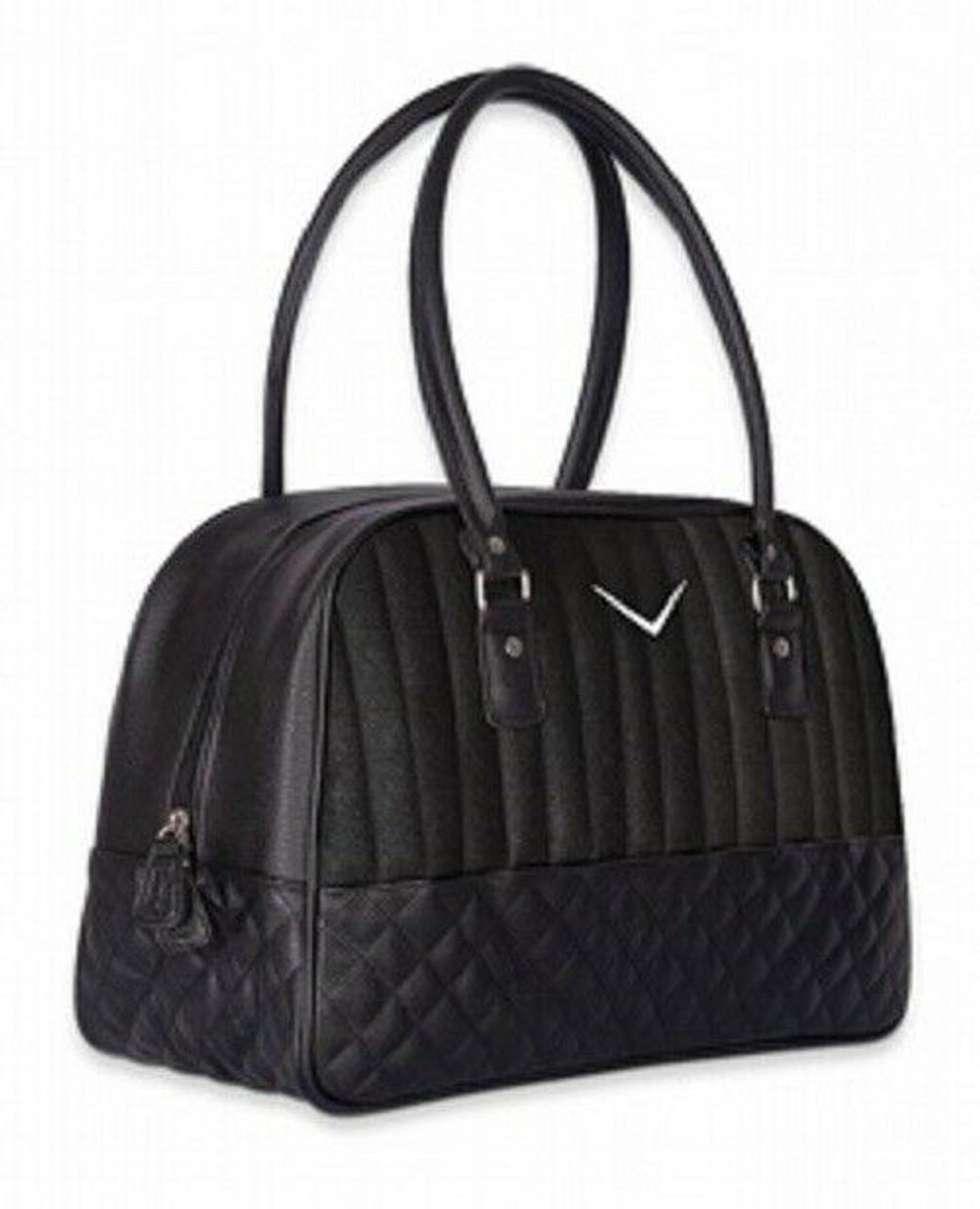 Black leather handbag with flakes