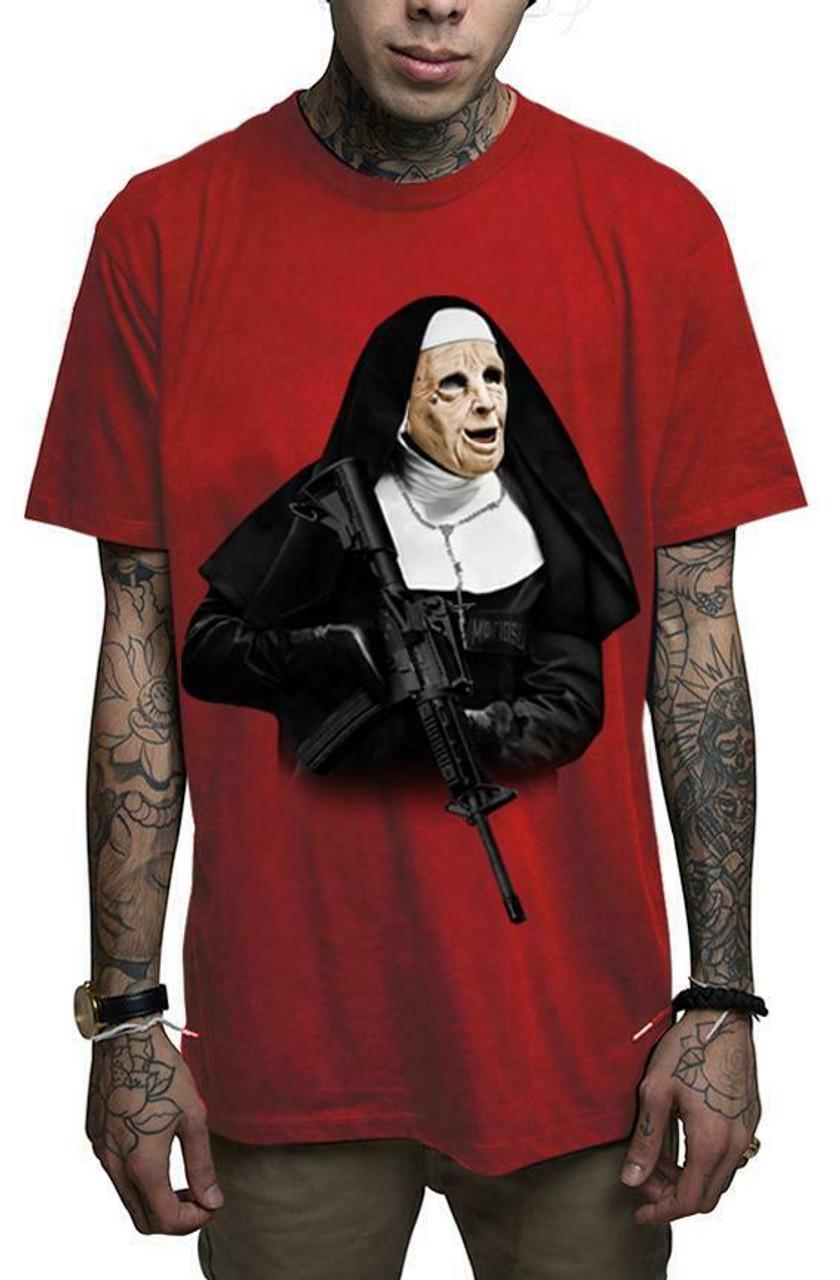 Mafioso Confessions Gold Forgive Me Father Cross Guns Urban Tattoos T Shirt