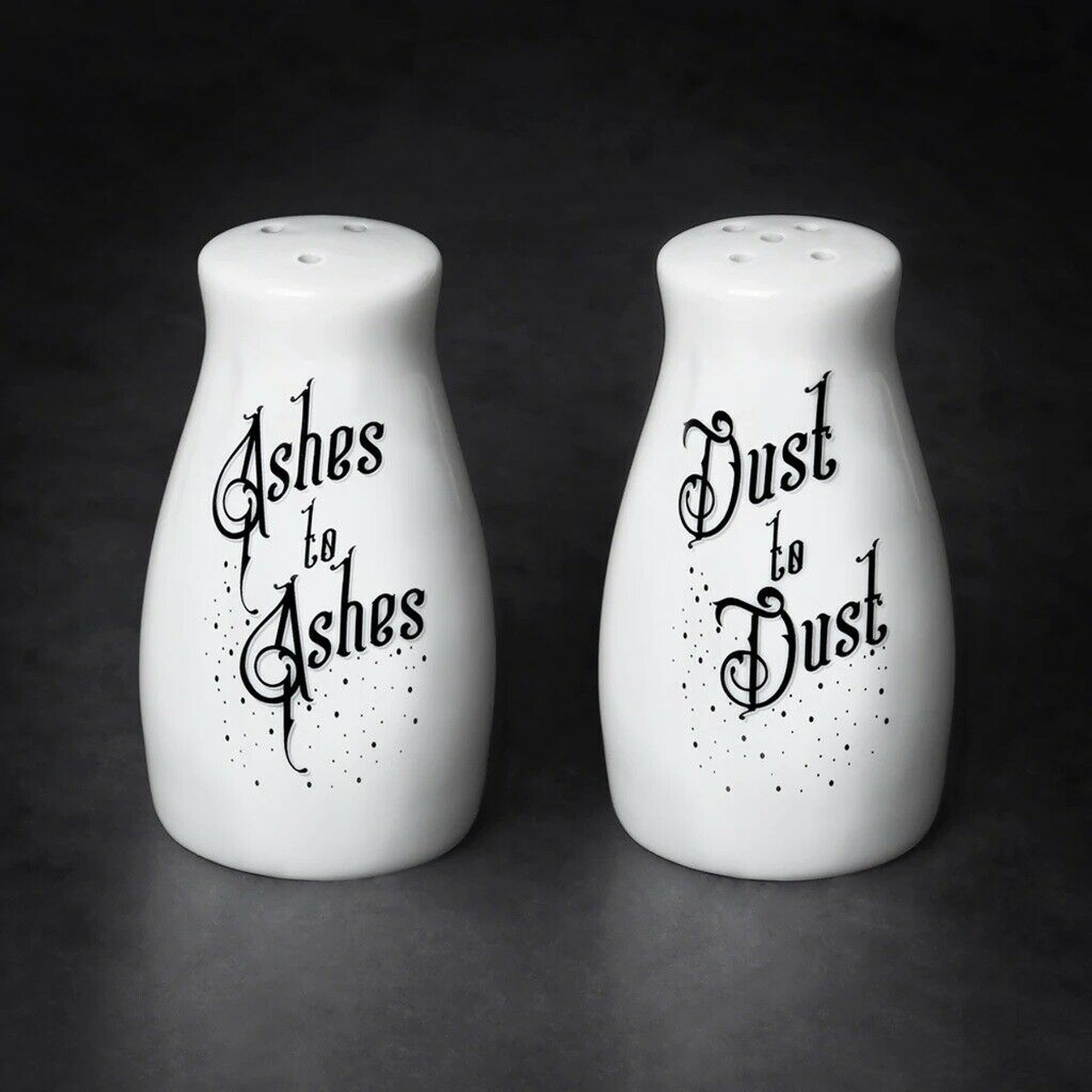 Alchemy Of England Goth Ashes To Ashes Dust To Dust Salt Pepper Shaker Set Mrsp2 Fearless Apparel