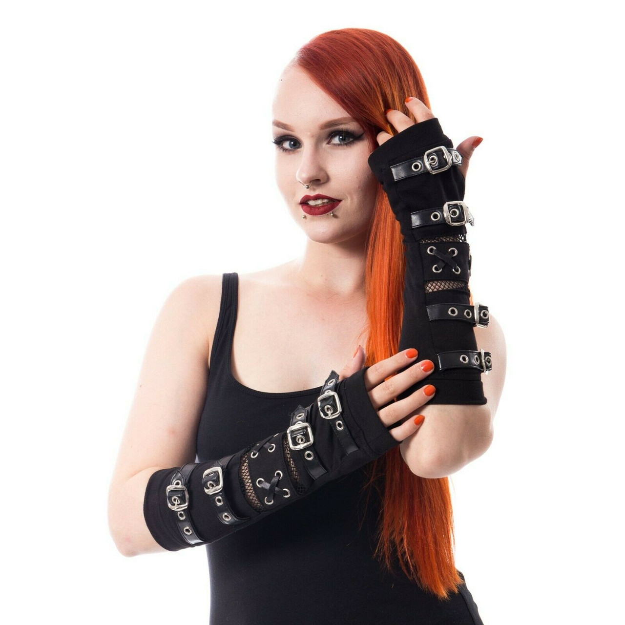 Poizen Industries Shadow Armwarmers Arm Warmers Punk Gothic Studs Buckles Gloves Black