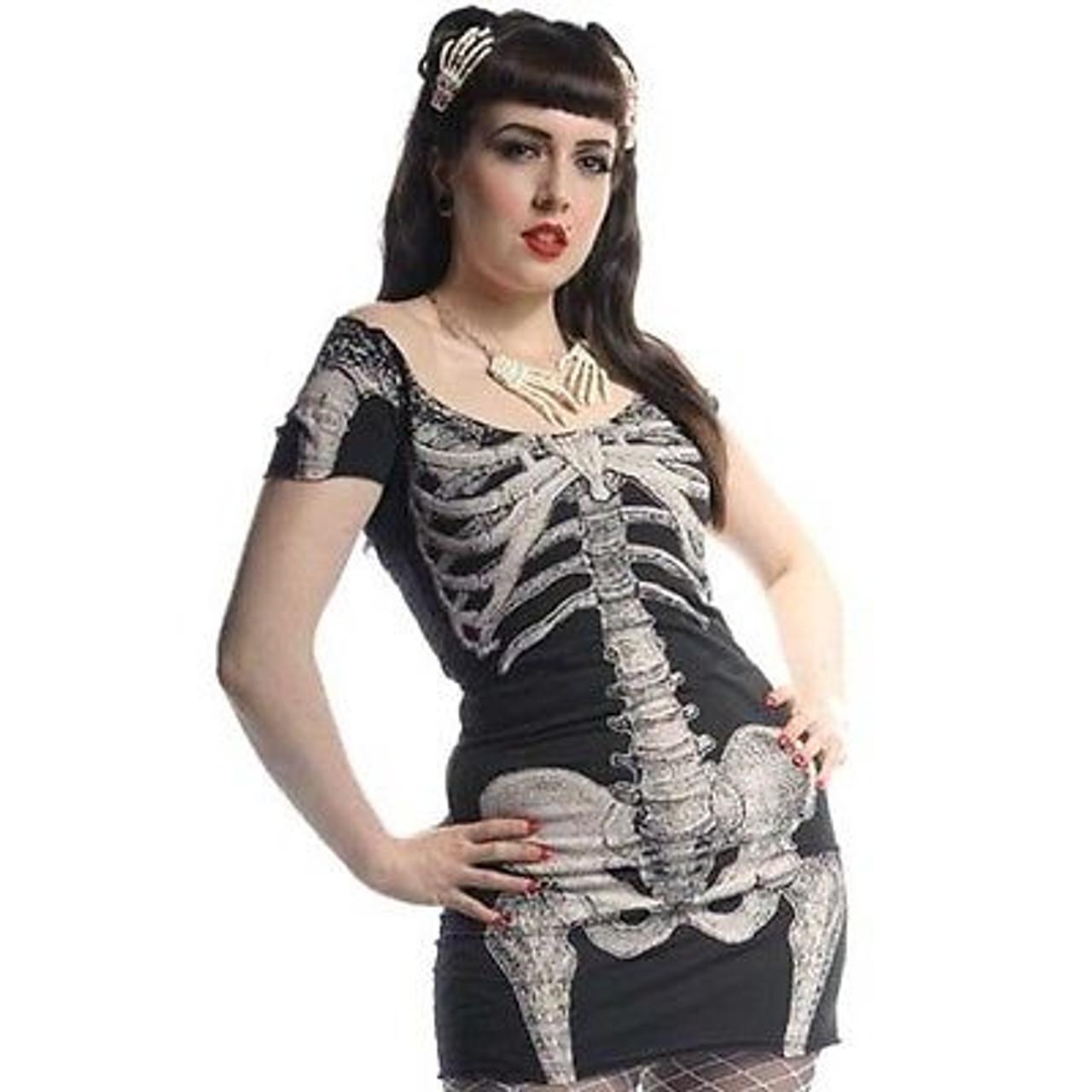 Women/'s Skele-Bone Leggings Black Death Kreepsville Gothic Horror Fashion