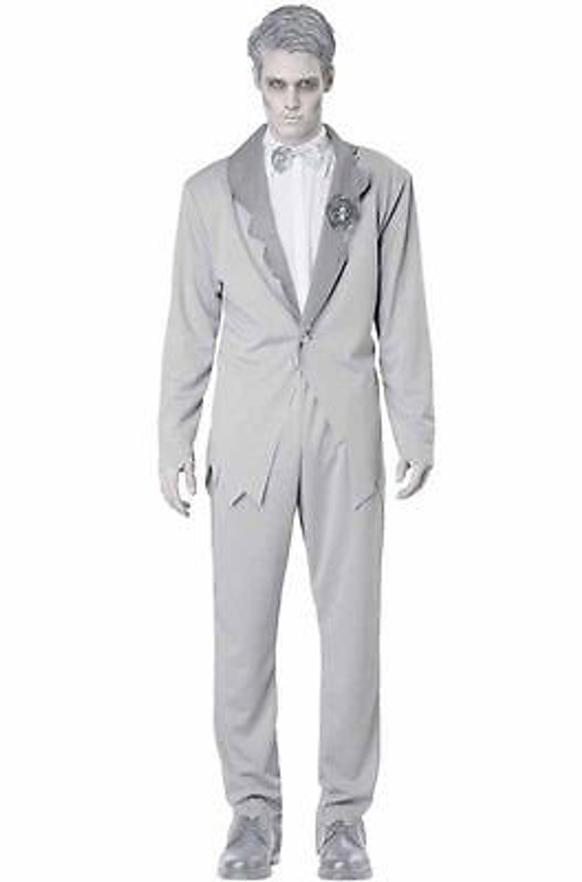 ADULT MENS GHOSTLY GROOM WEDDING SCARY SPOOKY MARRIAGE HALLOWEEN COSTUME  COSPLAY