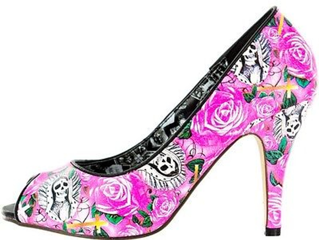 b49cb17ef06 IRON FIST BEAUTIFUL SINNER SKELETON SKULL PINK PLATFORM HEELS SHOES SIZE  7-10