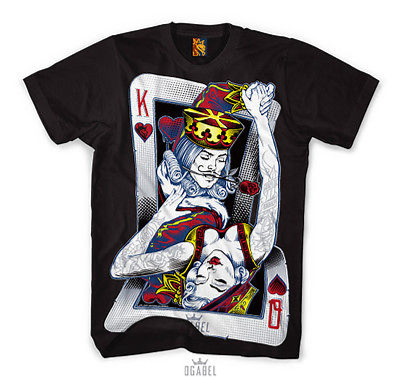 e7adbd366d31f OG ABEL CLOTHING DANCING CARDS URBAN KING QUEEN INK TATTOO BLACK TEE SHIRT  S-4XL