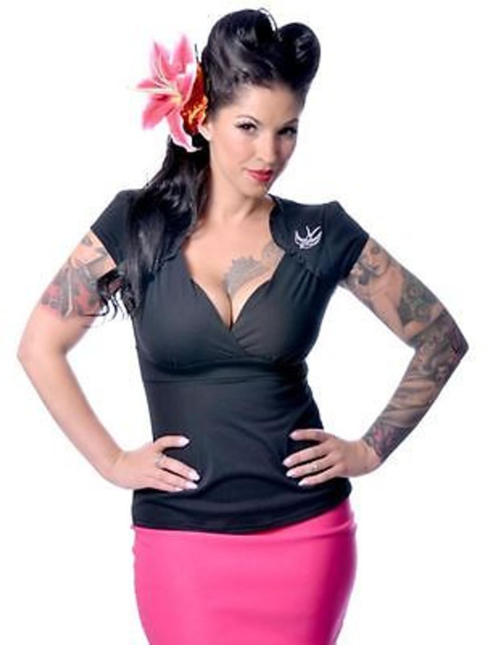 Steady Peasant Top Red Goth Punk Rocker Pin Up Fancy Rockabilly Shirt S-2Xl