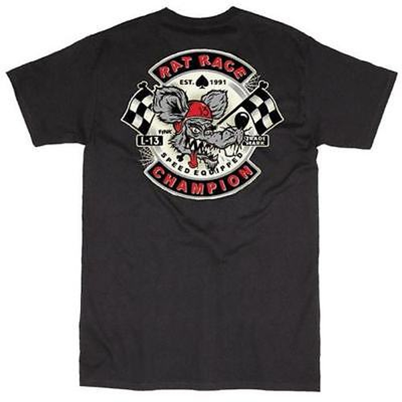 Lucky 13 Rat Race Motorcycle Club Grease Gas Biker Gang Emo Punk Rock T Shirt Fearless Apparel