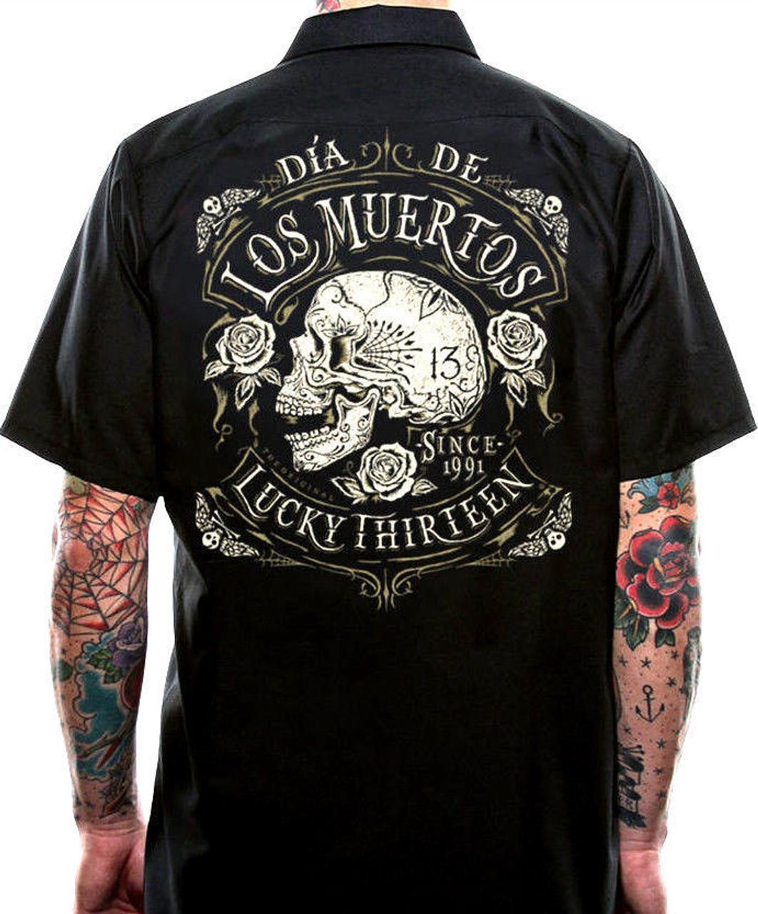 8301f1e21f08a Lucky 13 Dead Skull Motorcycle Rockabilly Biker Punk Goth Work Shirt M-4Xl