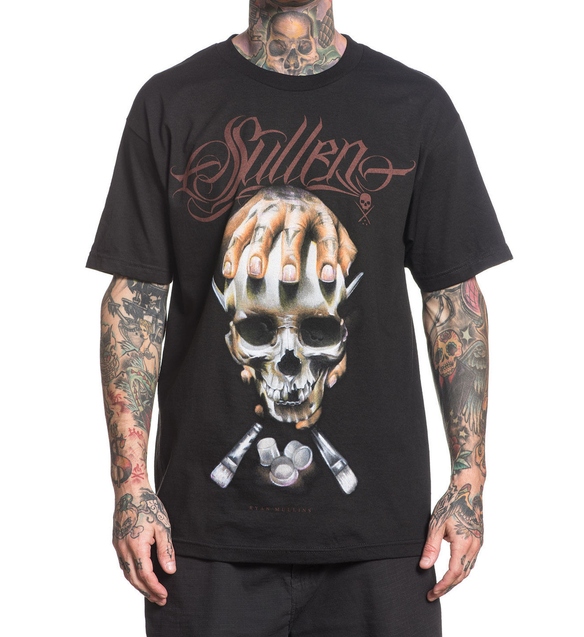 Sullen Clothing Mullins Badge Skull Tattoo Punk Adult T Tee Shirt ...