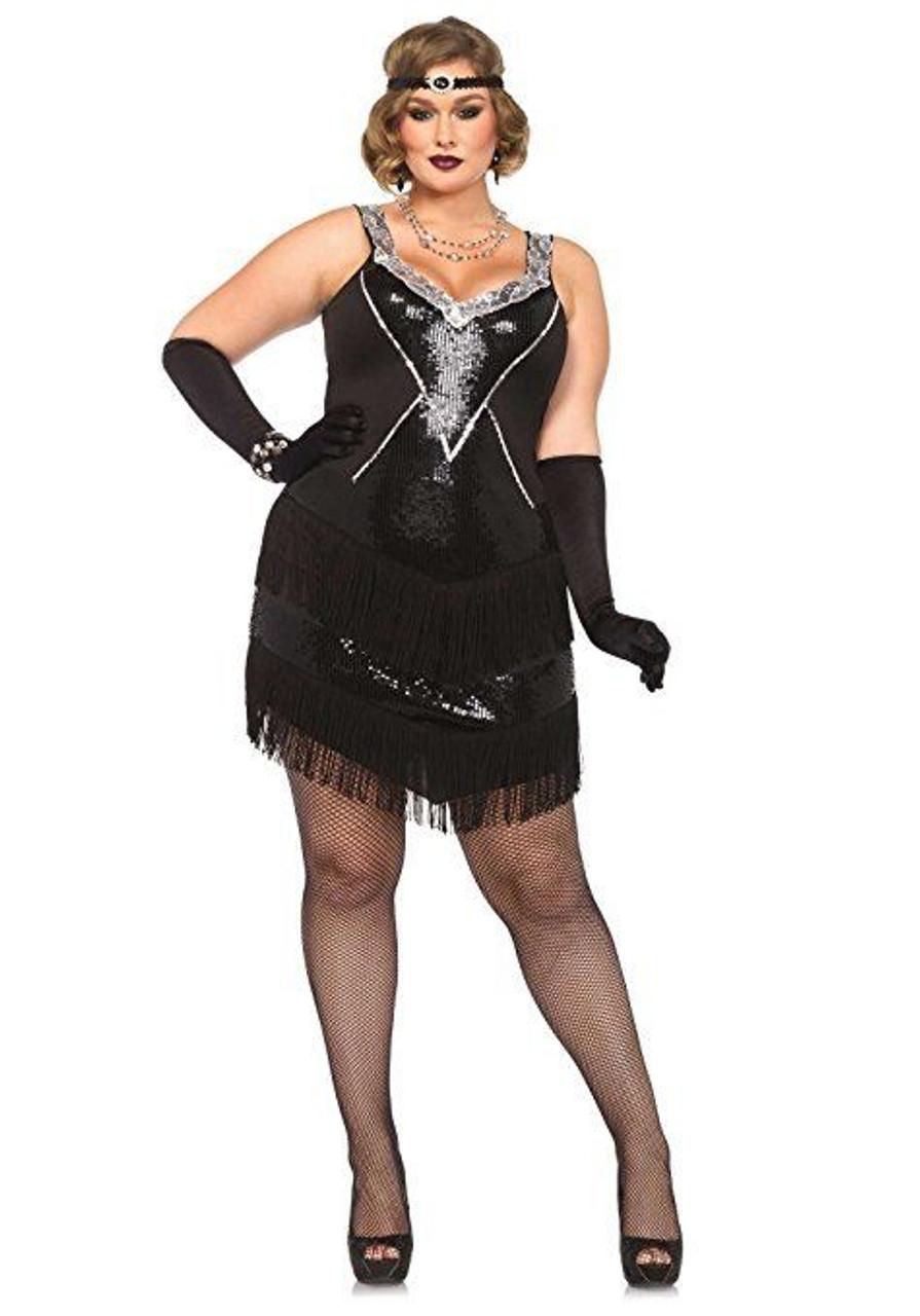 90a0b40a49827 Leg Avenue Glamour Flapper Gatsby Plus Adult Womens Halloween Costume 85474X