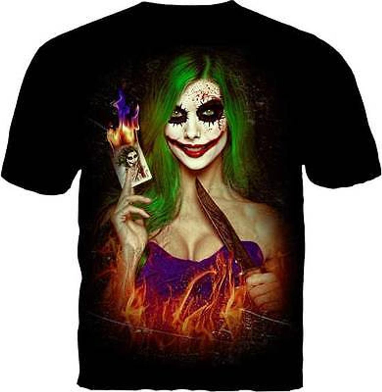 8f61ccc300bb9 Daveed Benito Chaos Female Joker Cards Knife Blood Comics Artwork Tee Shirt