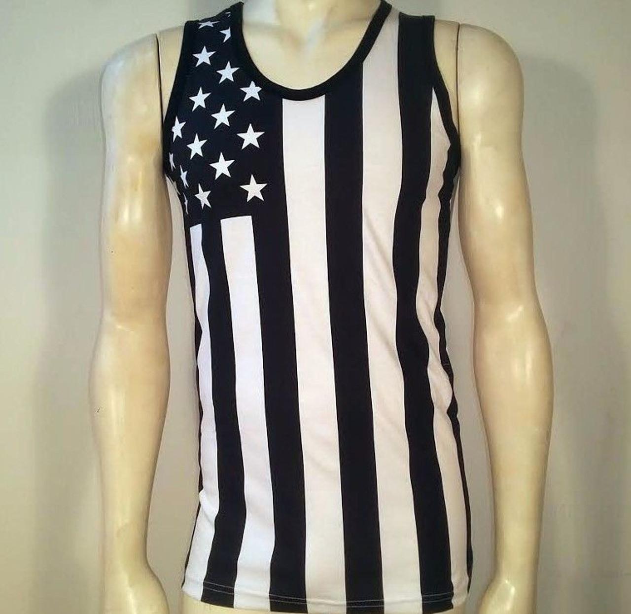 0aadabeb USA Black & White Flag American Patriotic Stars Army Mens Tank Top Shirt  MUHUBW - Fearless Apparel
