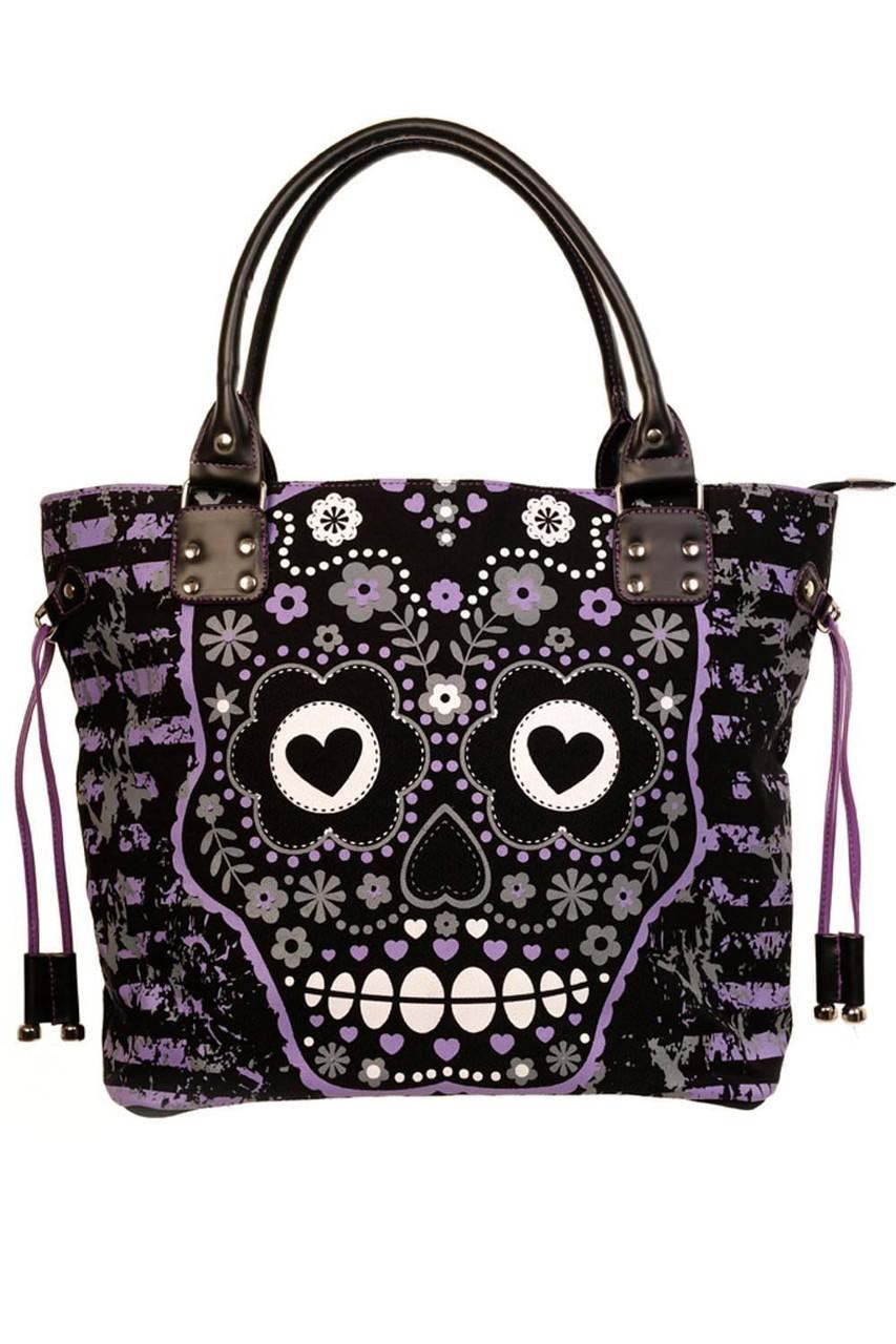 2df981e9 Lost Queen Purple Sugar Skull Shoulder Bag Purse Goth Punk Lady BBN760BLK