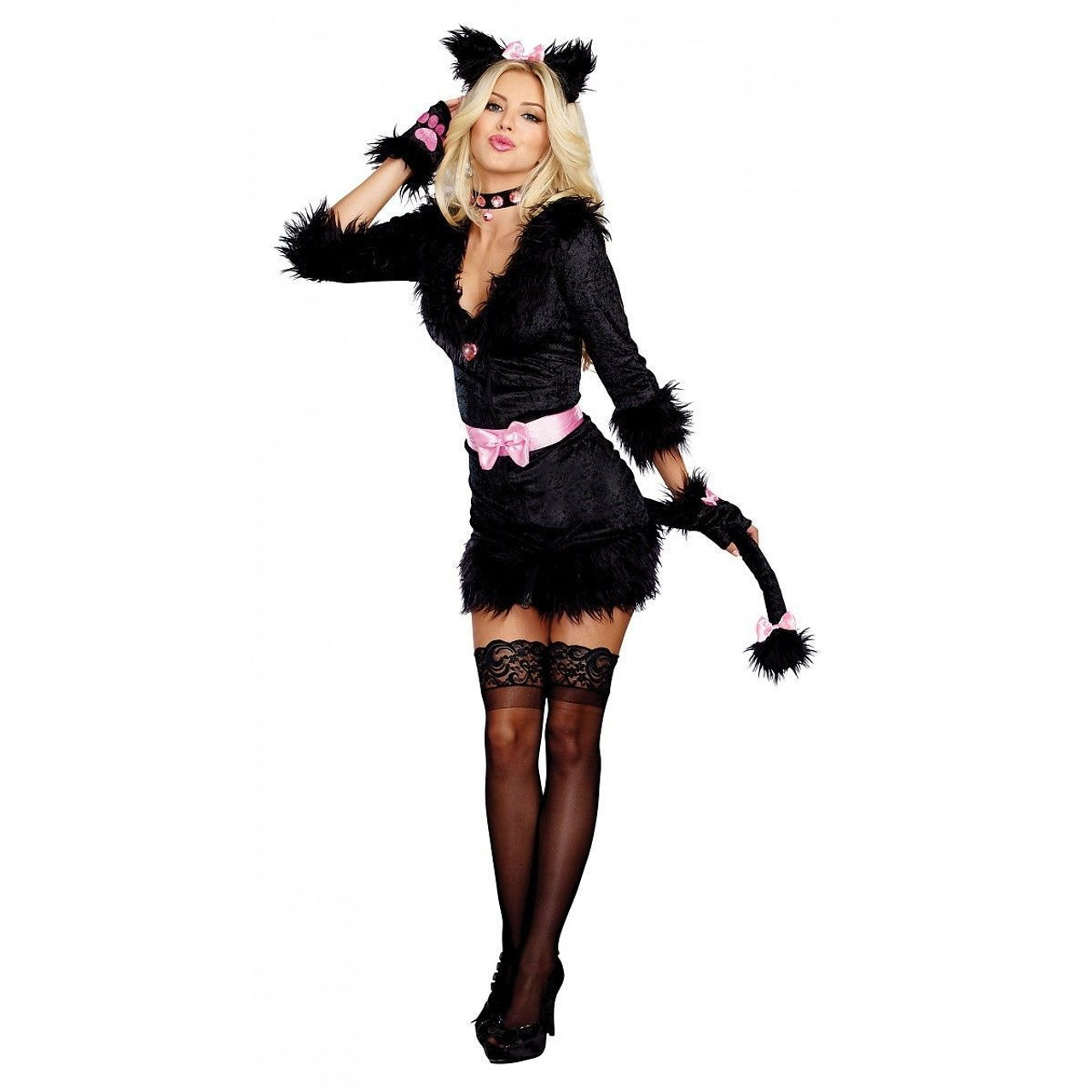 Dreamgirl Cattitude Cat Kitten Pink Bow Women Sexy Halloween