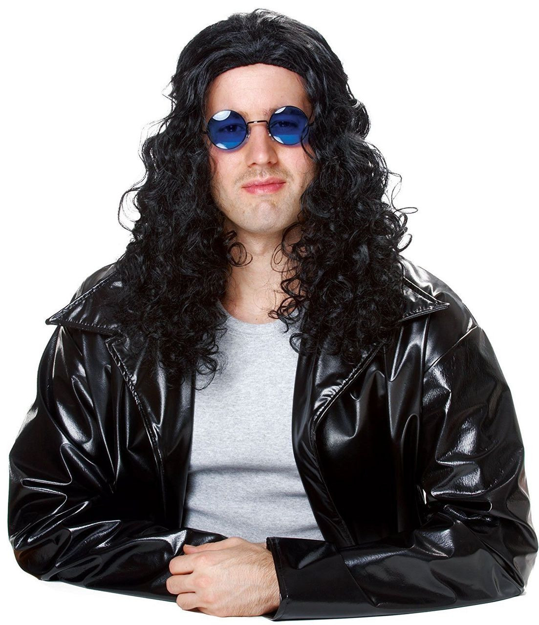 c182c57a989 Costume Culture 80's Wig Iconic DJ Black Adult Long Hair Halloween Disc  21006