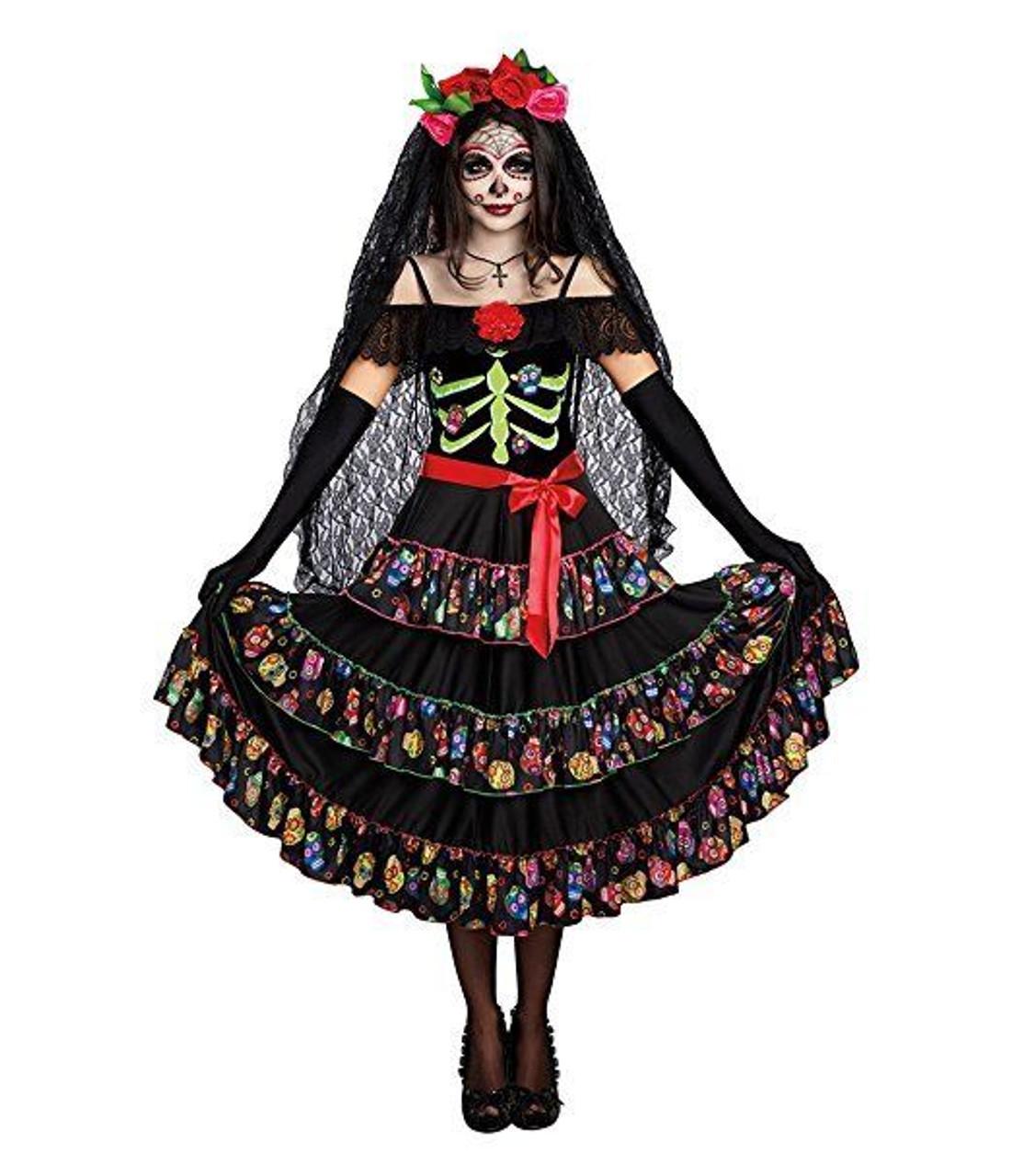 1e0470f8c Dreamgirl Lady Of The Dead Dia De Los Muertos Womens Halloween Costume 10680