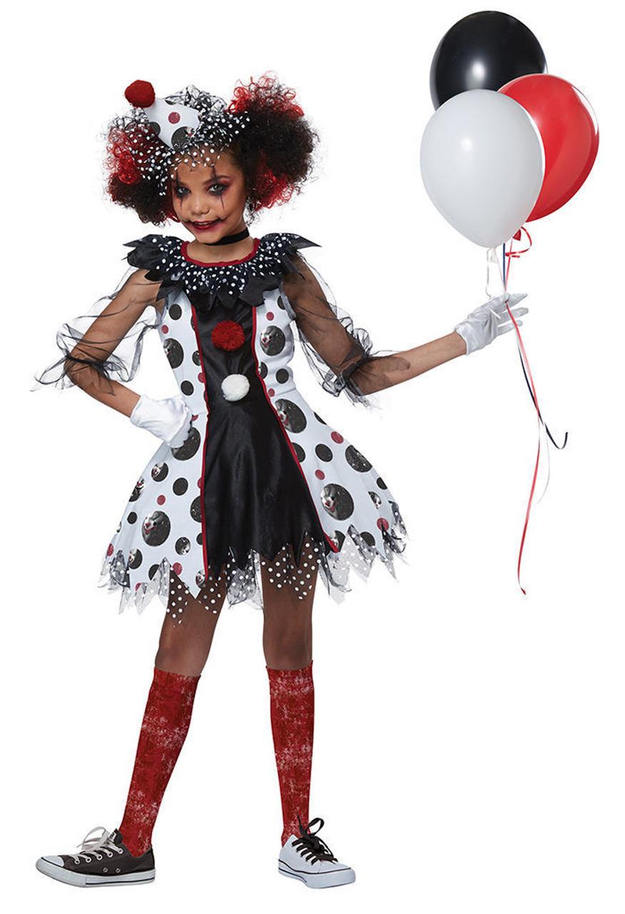 Halloween Clown Girl Outfit.California Costumes Creepy Clown Red Balloon Child Girls Halloween Costume 00586
