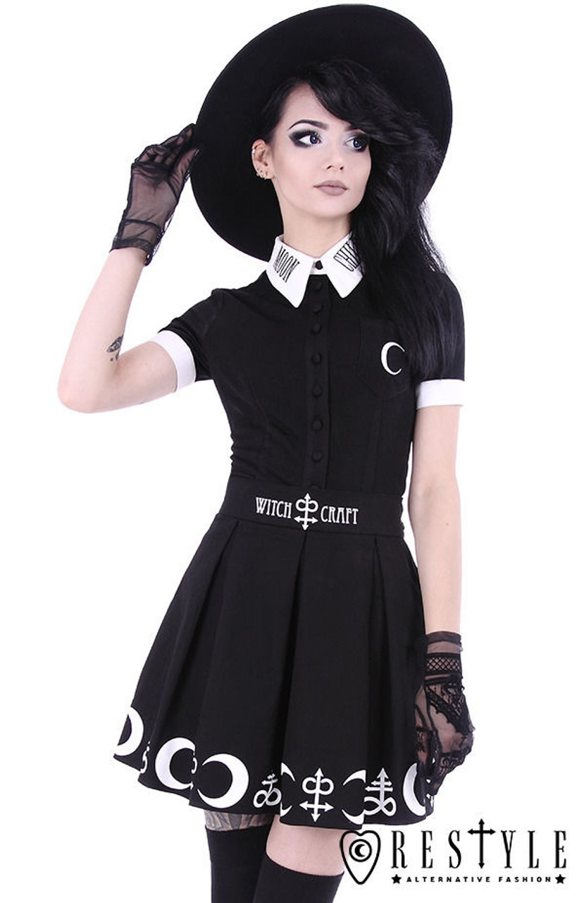 647081bb91ff5 Restyle Symbol Short Skirt Gothic Alchemy Print Moon Occult Emo Lunar  Witchcraft
