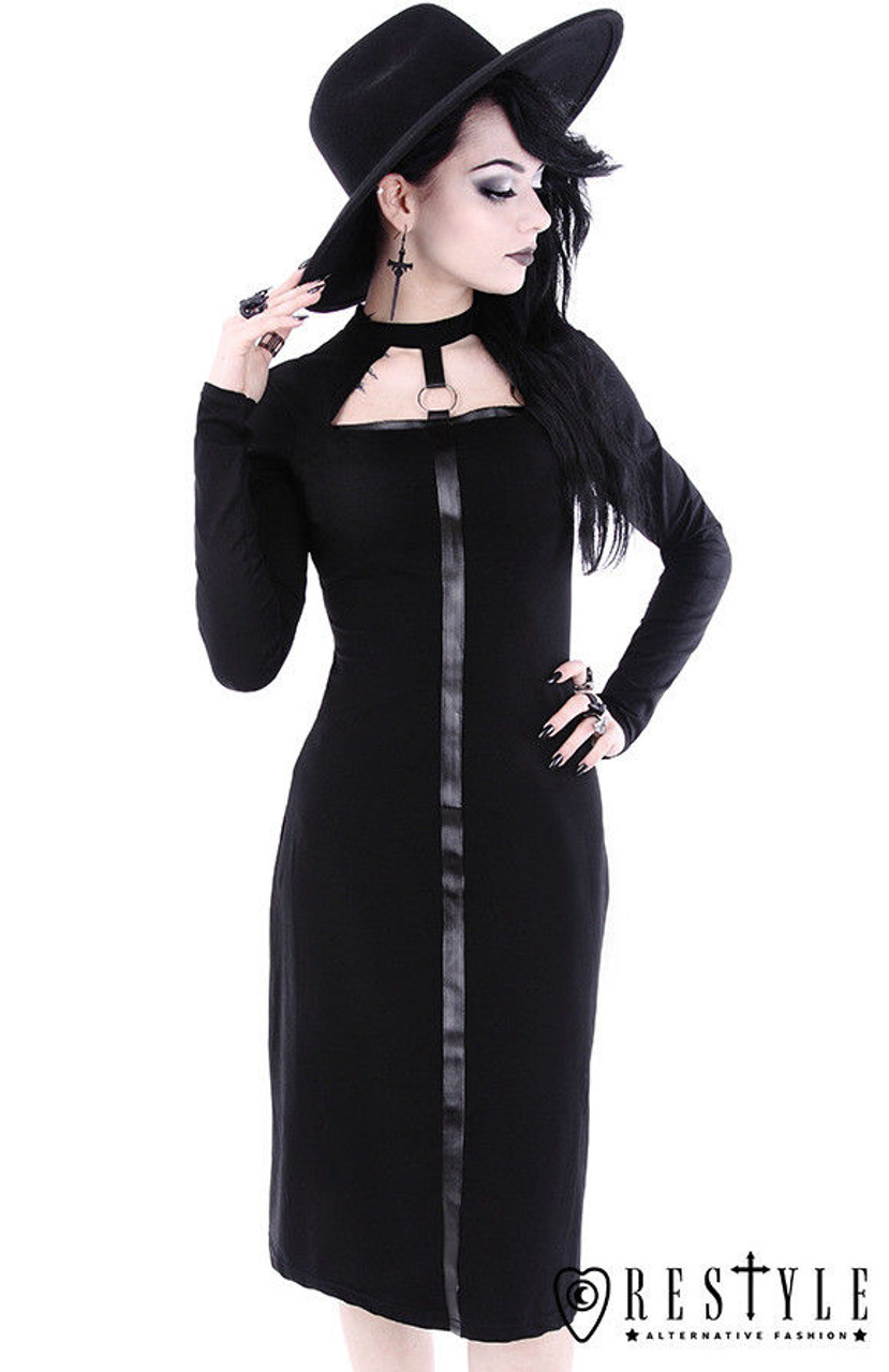 7f3d626d06e Restyle Scarlet Black Gothic Goth Punk Rocker Emo O-Ring Adult Womens Dress  - Fearless Apparel
