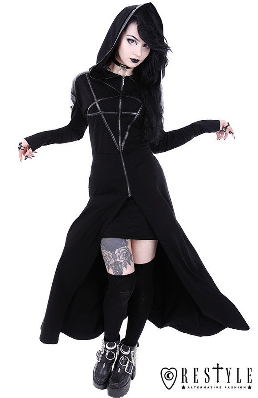 Restyle Occult Ram Skull Pentacle Nugoth Punk Goth Ritual Witchcraft Hoodie Top