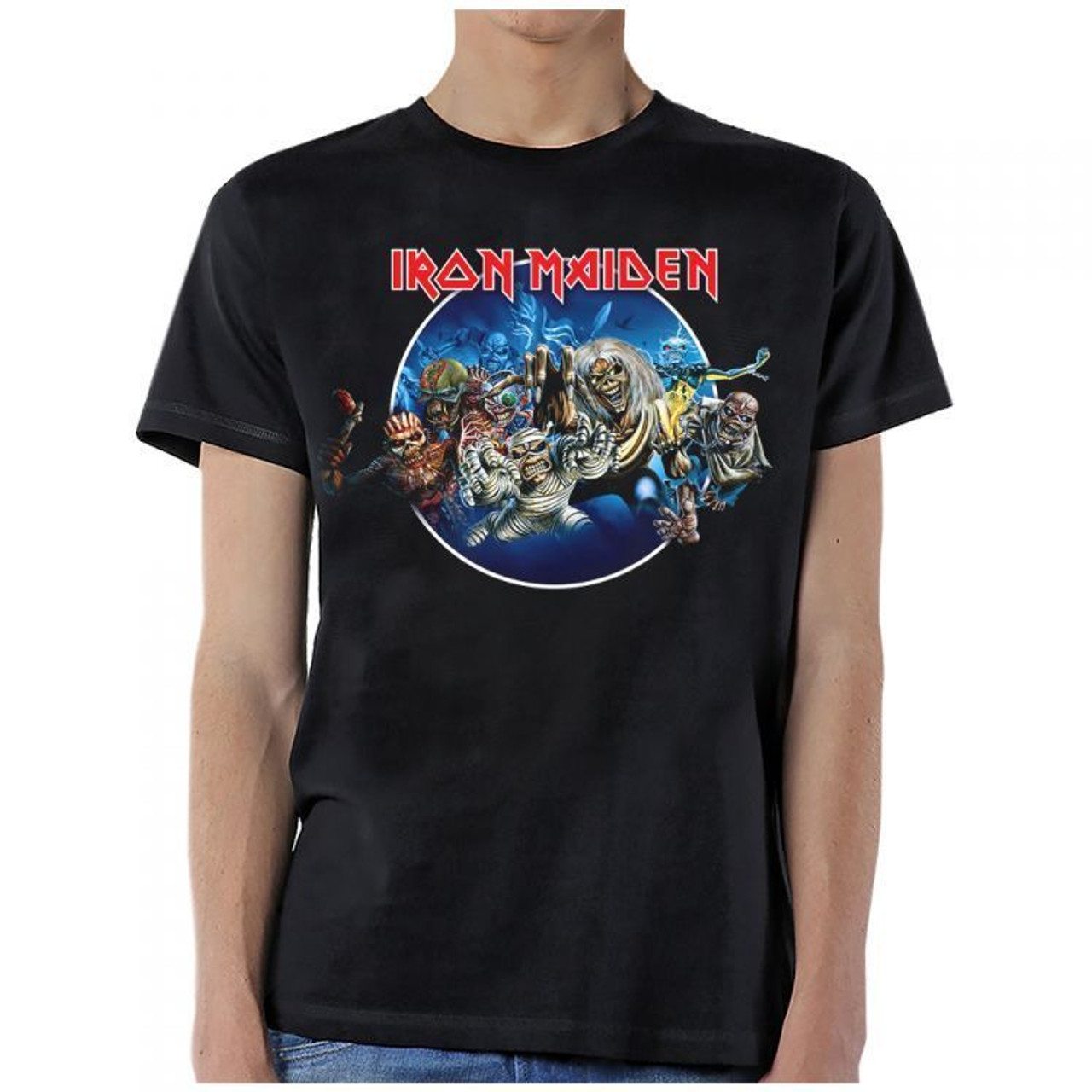 294eec8a Iron Maiden Wasted Years Circle Music Collage Rock Metal Mens T Shirt  IRM10650