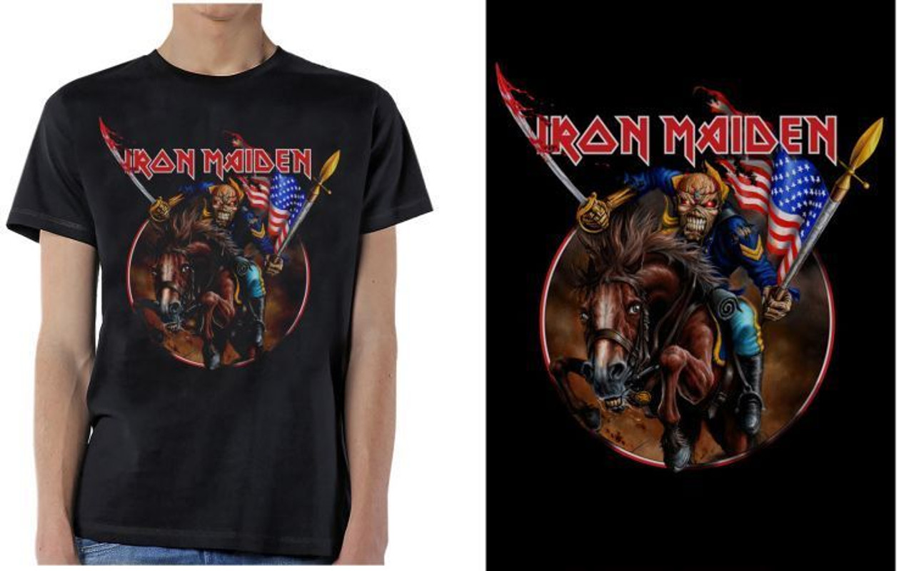 33f6057e Iron Maiden Maiden England Custer USA America Flag Metal Adult Mens T Tee  Shirt