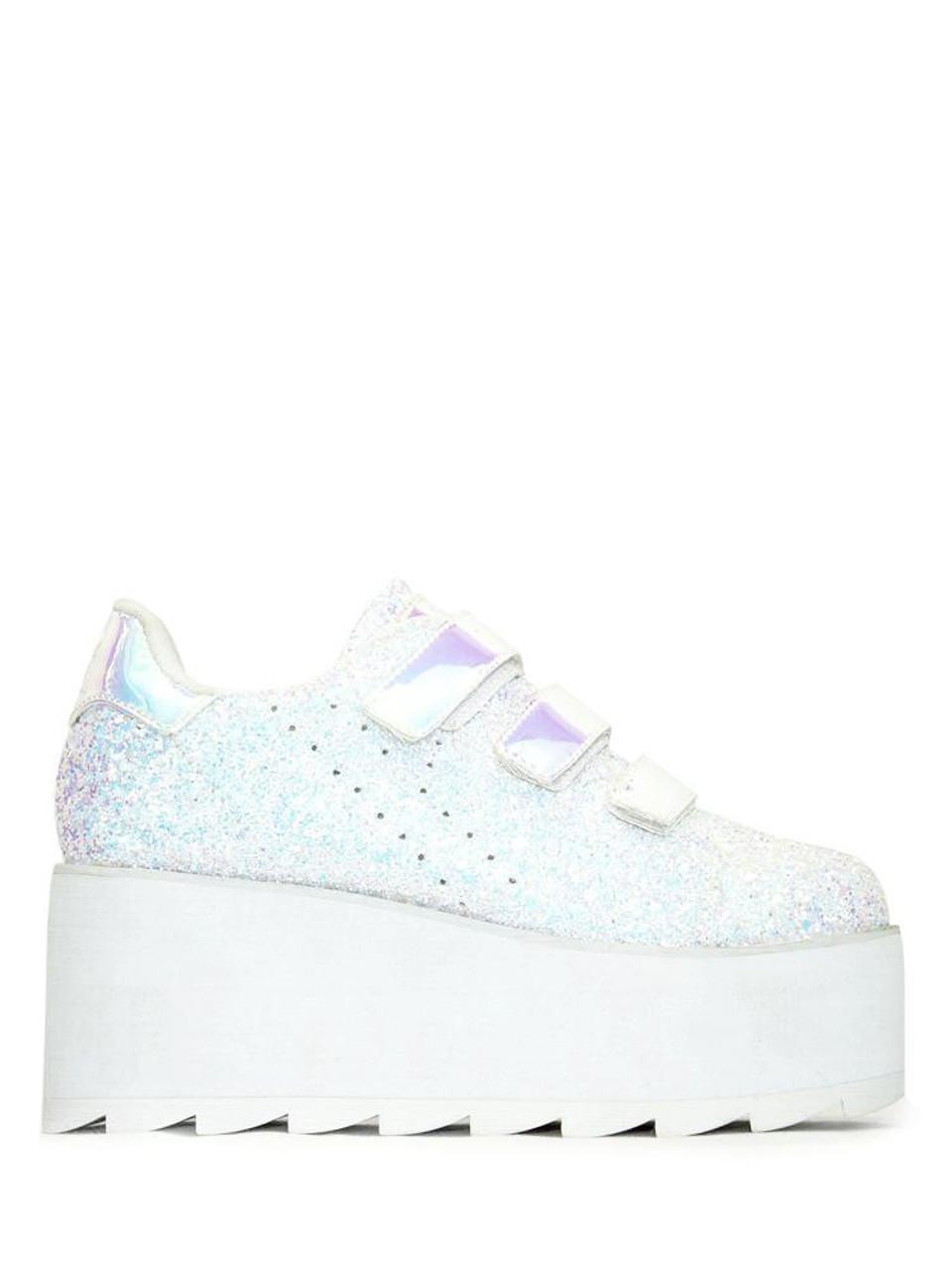 f9131acd3cd YRU Youth Rise Up Lala Velcro Glitter White Womens Platform Shoes Goth Punk