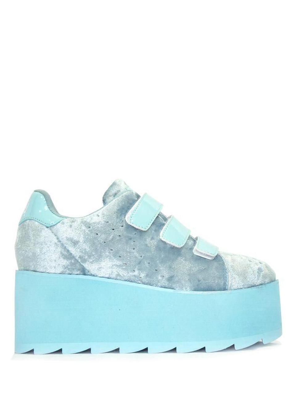 e0545b043f2 YRU Youth Rise Up Lala Velcro Velvet Blue Womens Platform Shoes Sneaker Punk