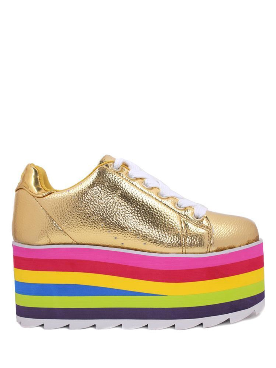 YRU Youth Rise Up Lala Gold Multi Color Rainbow Womens Platform Sneaker  Shoes
