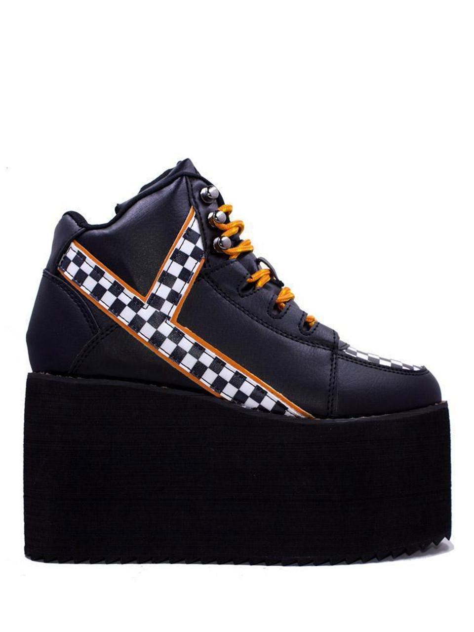 1ebe2dd49072e2 YRU Qozmo Checker Black   White Punk Emo Goth Rocker Adult Womens Platform  Shoe