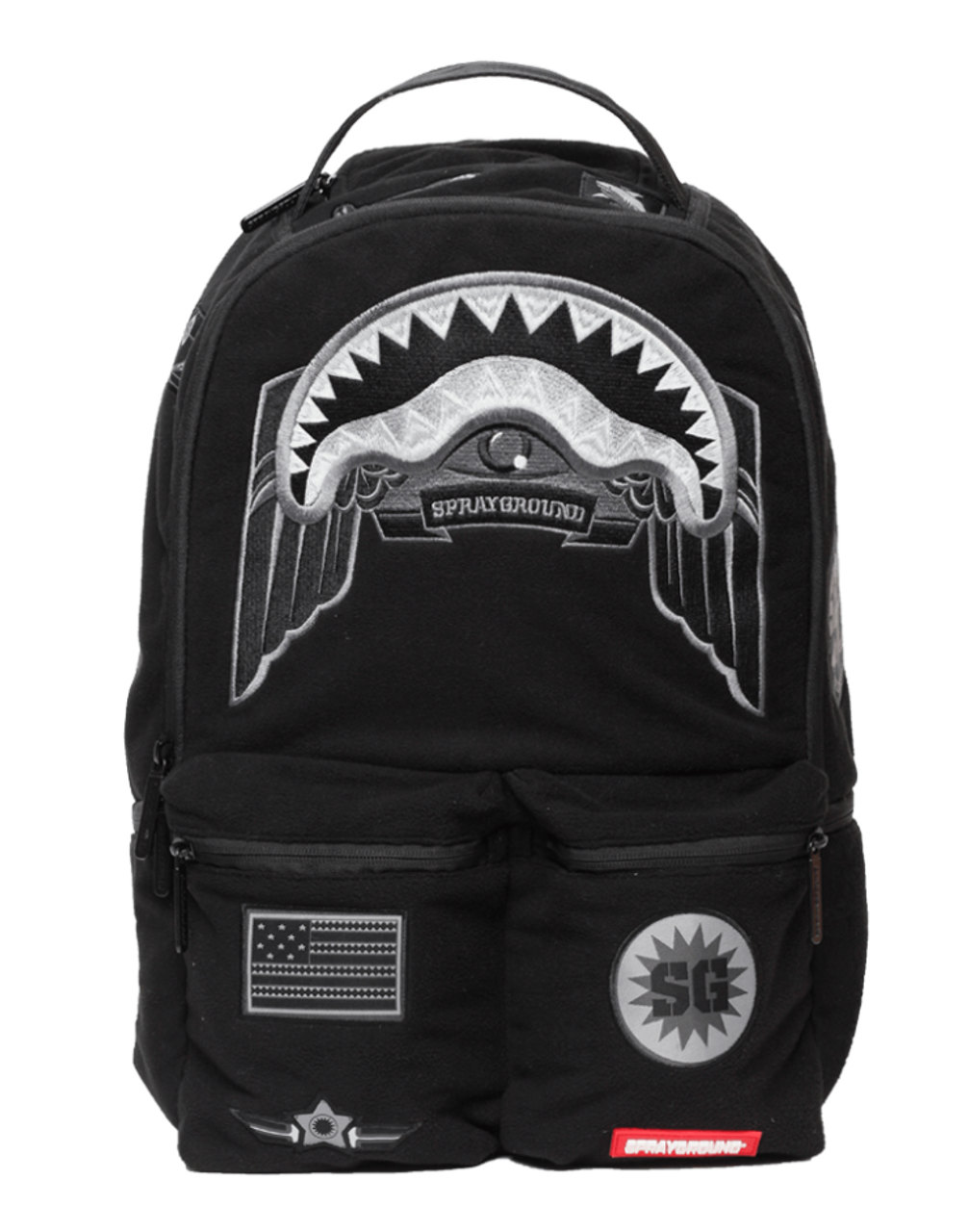 6990aede2a9 Sprayground Ghost Shark Army Patches Adult Book Bag Backpack 910B1316NSZ -  Fearless Apparel