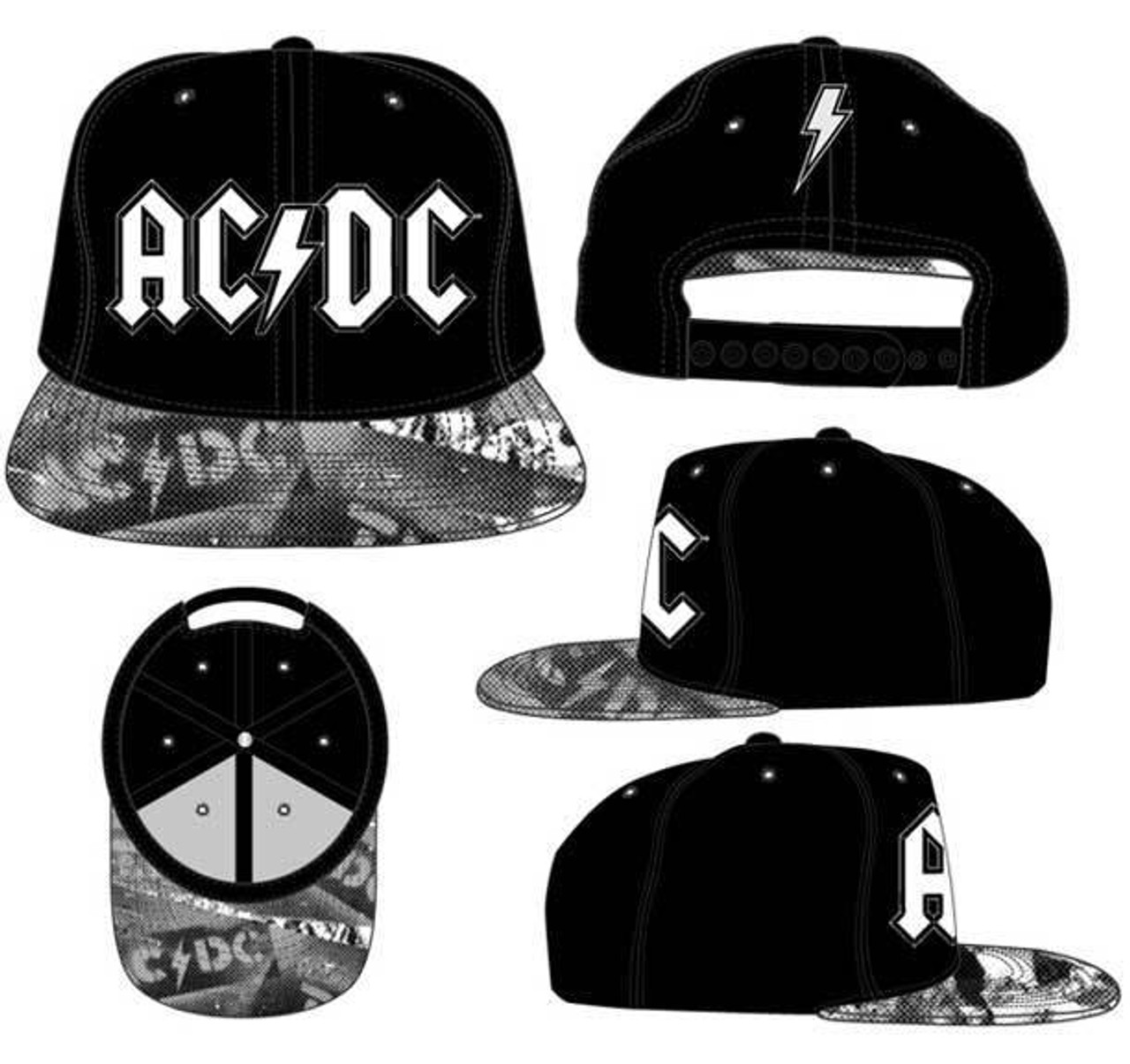 cdd497ef622 AC DC Metal Rock Music Axl Rose Angus Young Snapback Flatbill Hat  SACJ-100032 - Fearless Apparel