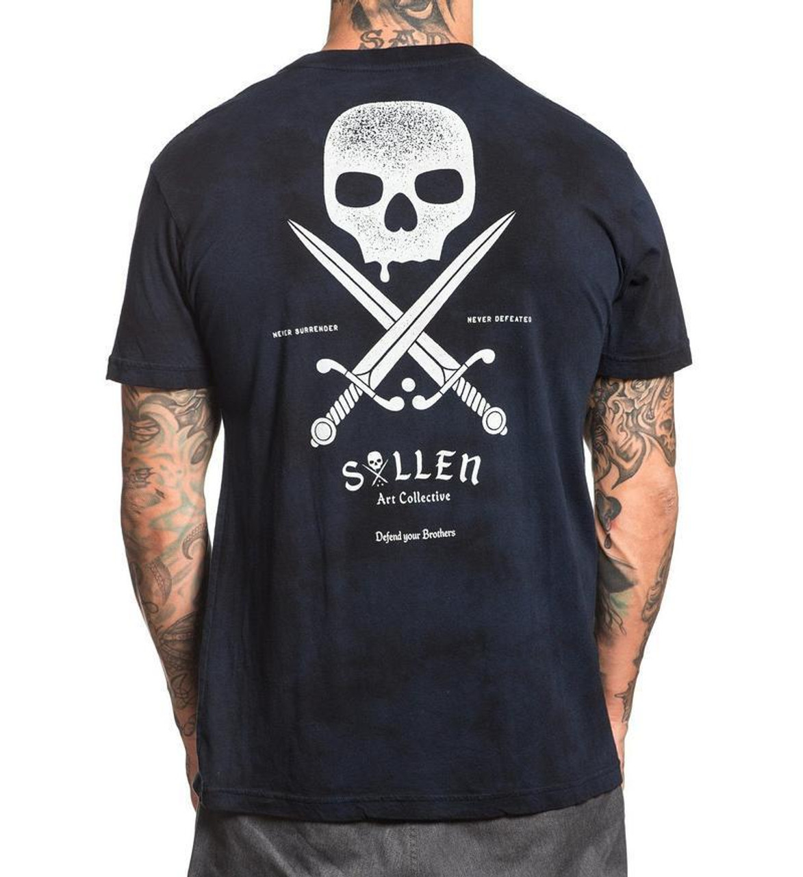 f054923434 Sullen Clothing Swords Badge Black Navy Lava Wash Adult Mens T Tee Shirt  SCM1362