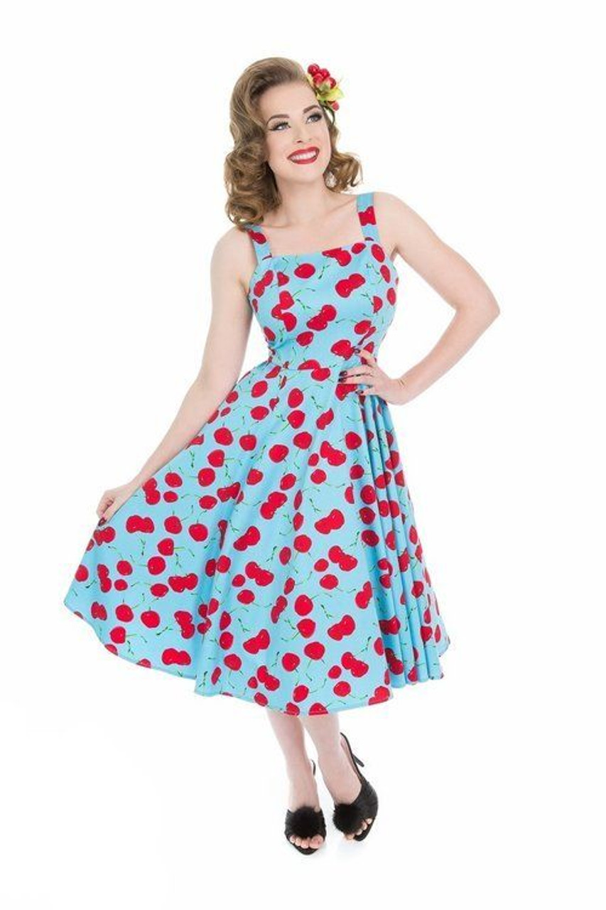 8b5f848451 H R London Martina Sundress Blue Red Cherries Retro 50 s Style Pinup  Rockabilly - Fearless Apparel