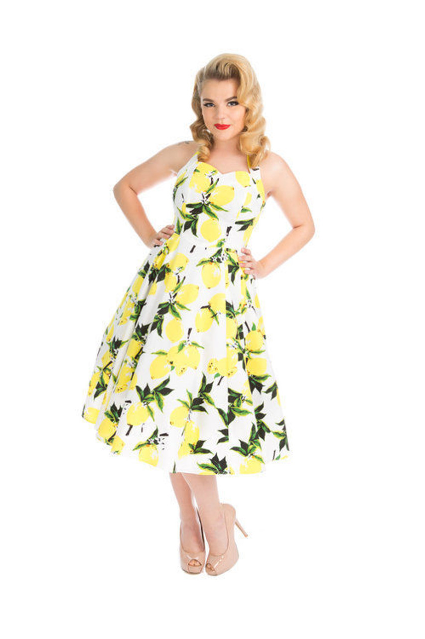 e306af0cb2 H R Lemon Halter Day Sun Dress White Yellow Retro Pinup 1950 s Style  Rockabilly - Fearless Apparel