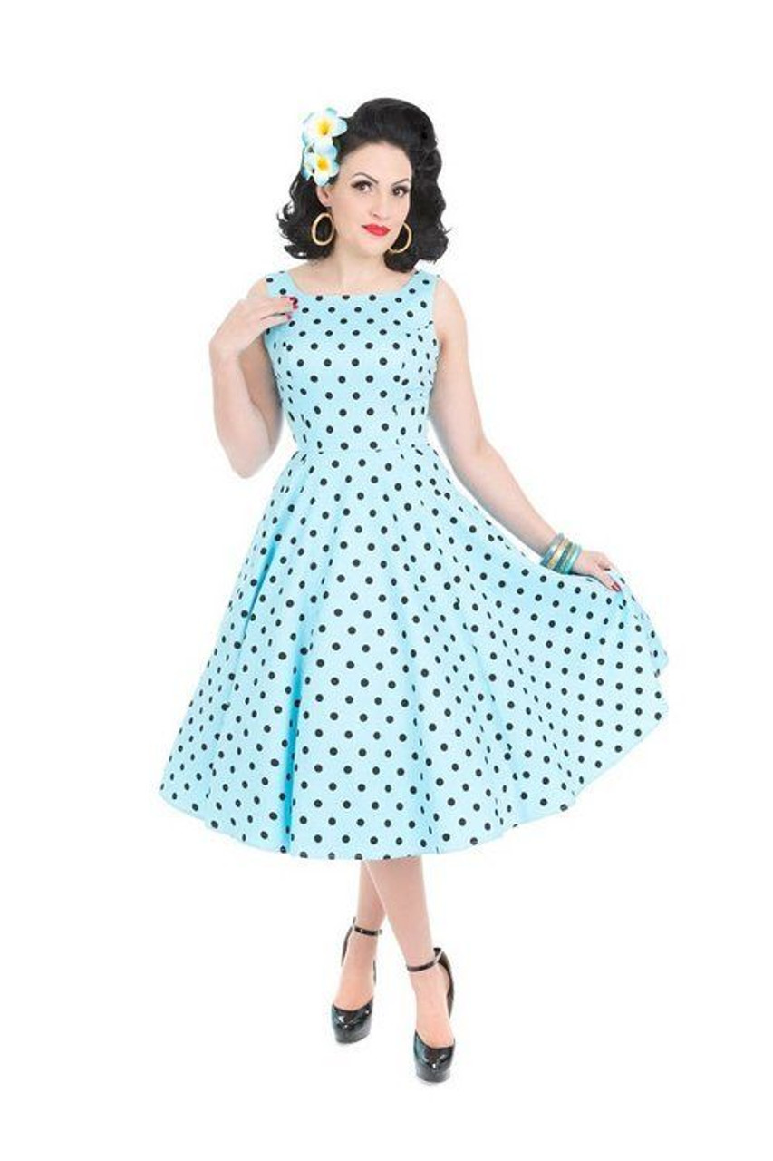 bd292d0f66 H R London Caprice Day Dress Sky Blue Black Polka Dots Retro 1950 s Pinup  Style