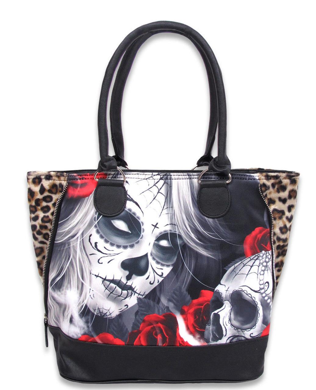 Liquor Brand Eternal Bliss Sugar Skull Shoulder Handbag Purse Bag LB-BSH-00039