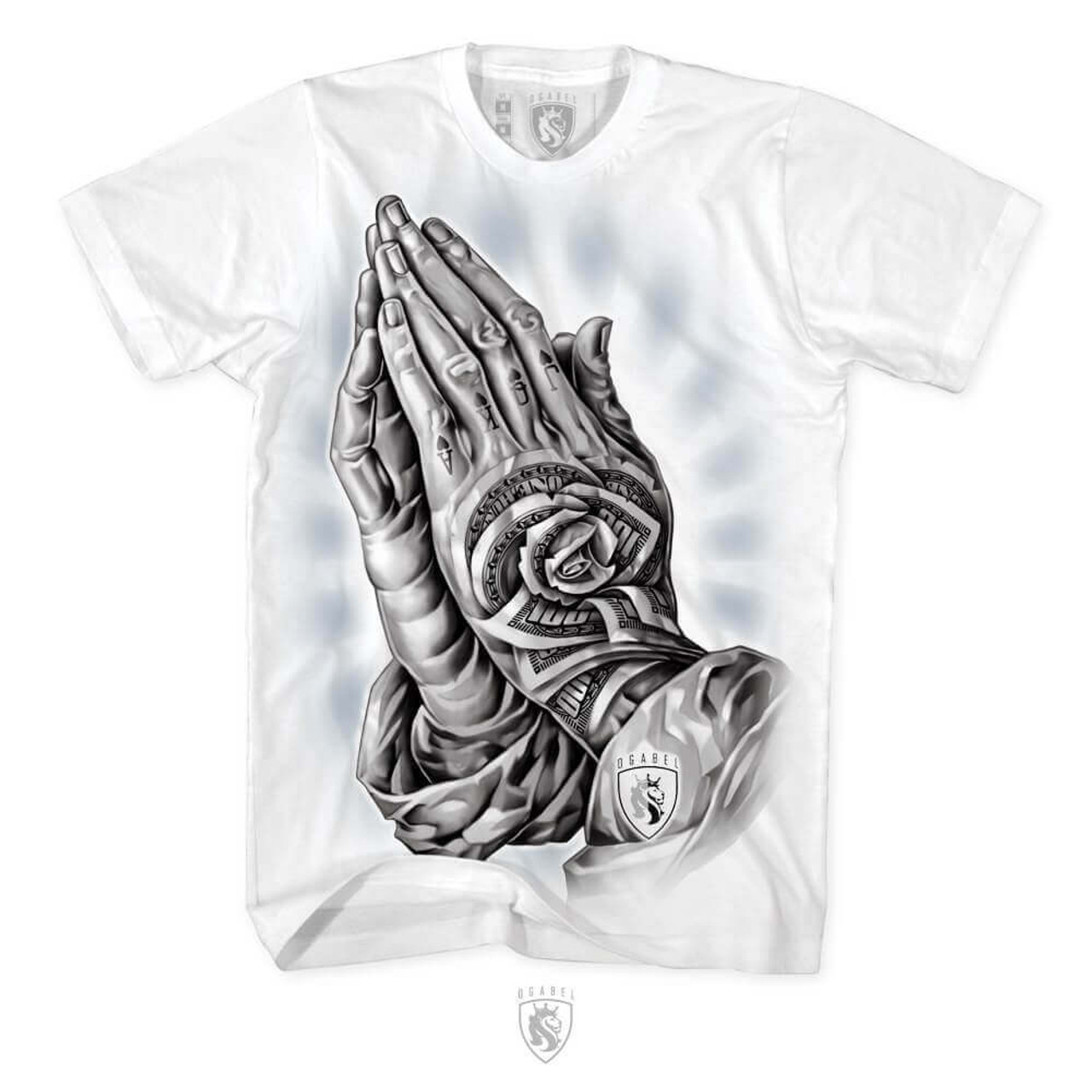 23db96d260 OG Abel Money Rose Flowers Hands Praying Tattooed Urban Men's Tee Shirt  A0396