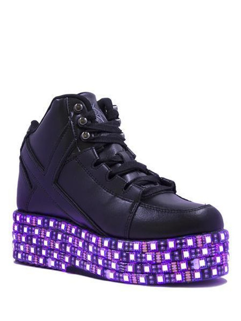 85770ba97aed43 YRU Qozmo Lo Black LED Light Up Platform Sneakers Shoes Cybergoth Punk Vegan