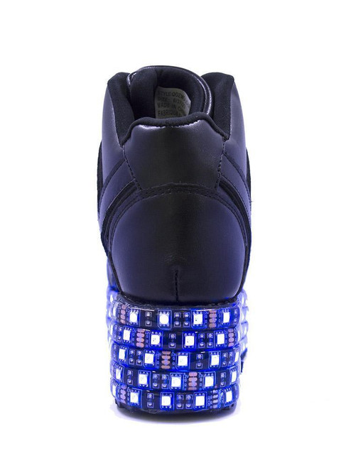 8e4d5f16218f61 ... YRU Qozmo Lo Black LED Light Up Platform Sneakers Shoes Cybergoth Punk  Vegan ...