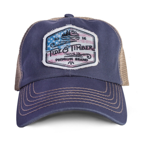 44bf4343 Tide & Timber American USA Flag Patriotic Blue Patch Baseball Dad Cap Hat  9102
