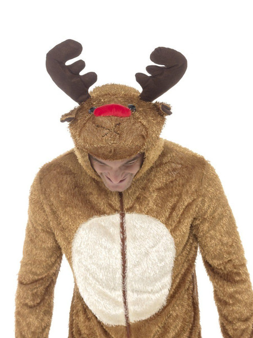 Smiffys Rudolph Red Nose Reindeer Adult Mens Halloween Costume Jumpsuit 31668