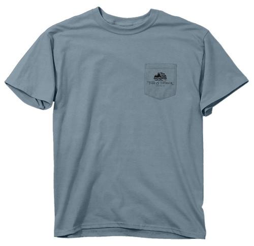 New TIDE AND TIMBER POCKET SHIRT Comfort Color DEER REFLECTION  T Shirt